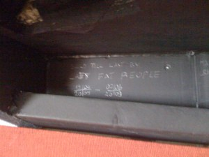"Although it conceals Artis' secret signature inside the duct, which reads ""Built to last by Lazy Fat People, 9-6-09""."