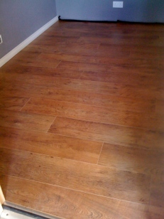 Here's the live room laminate floor, which Artis laid this morning. Beautiful!