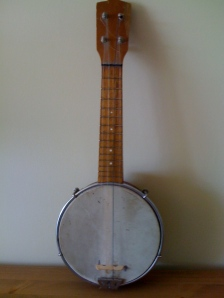 And this is my banjolele - the first musical instrument I ever bought. It was £10 in 1980, and is responsible for my love of playing music. Explains a lot, perhaps.