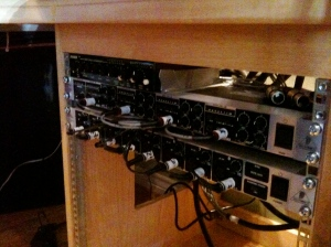 Headphone amp, ADA8000 and Joe Meek MC2 – gaffer taped for the moment.